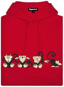 Červená dámská mikina s potiskem 4 opice