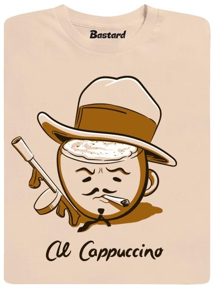 Cappuccino jako mafián s kloboukem a kulometem Thompson - hnědé pánské tričko