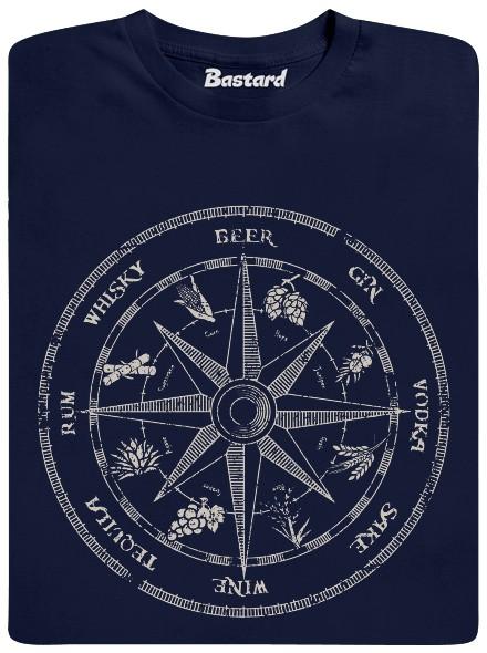 Alkoholický kompas - modré pánské tričko