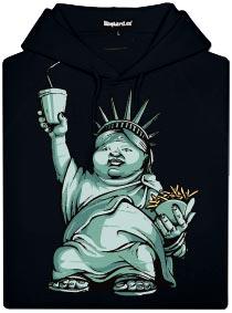 Černá dámská mikina s potiskem Americký idol - tlustá socha svobody