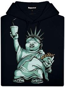 Černá pásnká mikina s potiskem Americký idol - tlustá socha svobody