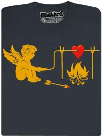 Amorek griluje srdce - šedé pánské tričko s potiskem