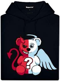 Černá pánská mikina s potiskem Anděl vs. ďábel medvídek
