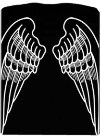 Andělská křídla - černé pánské tričko s potiskem na zádech