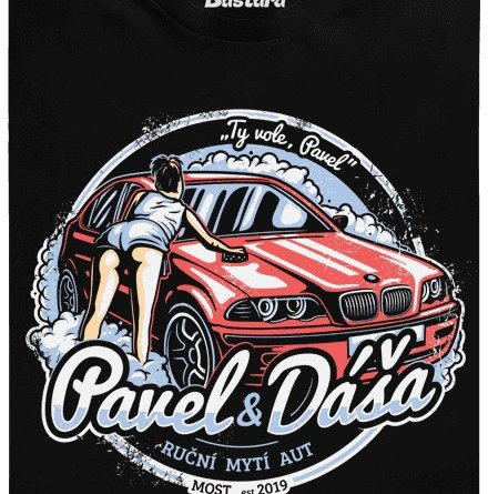 Automyčka Pavel a Dáša - černé pánské tričko