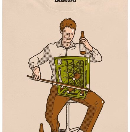 Basista hraje na basu piv - hnědé pánské tričko