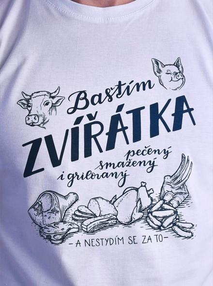 Jím zvířata a nestydím se za to - bílé pánské tričko