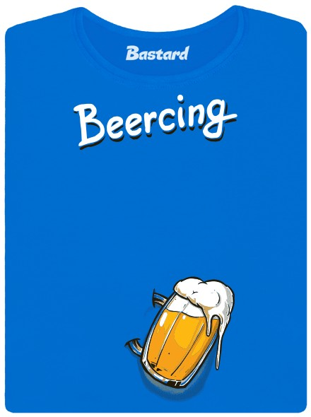 Beercing - pivní piercing - modré dámské tričko