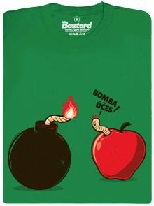 Bomba účes - červ a bomba - zelené pánské tričko