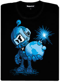 Bomberman drží v ruce bombu