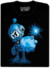 Bomberman drží bombu se zapáleným knotem