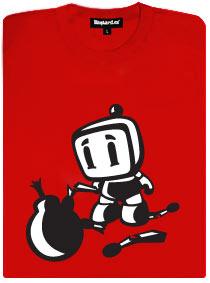 Bomberman se snaží zapálit bombu s knotem a kolem leží zlomené zápalky