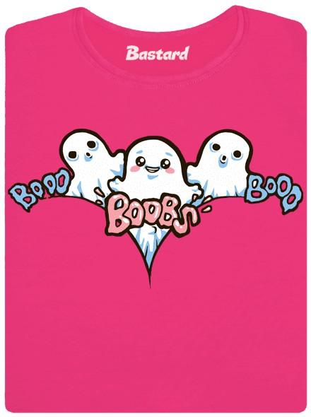Bu bu bůbs, booo booo boobs, duchové straší mezi ňadry - růžové dámské tričko
