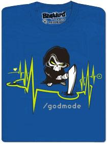 Boží zásah - modré pánské tričko s potiskem Godmode