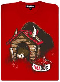 Býk v psí boudě - červené dámské tričko s potiskem