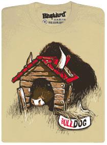Bulldog - býk v psí boudě - hnědé pánské tričko