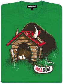 Bulldog - zelené dámské tričko