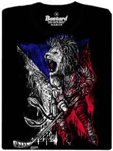 Český hokejový lev na černém pánském tričku s potiskem