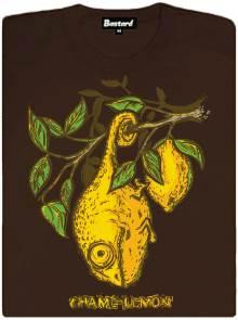 Maskování chamaleona vedle citronu - hnědé dámské tričko
