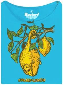 Chameleon maskující se jako citron - modré dámské tričko