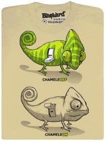 Béžové pánské tričko s potiskem ChameleOn, ChameleOFF.