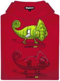Červená pánská mikina s potiskem CHameleON chameleOFF