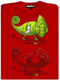 Červené dámské tričko s potiskem ChameleON chameleOFF