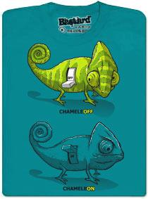 Modré pánské tričko s potiskem ChameleON chameleOFF