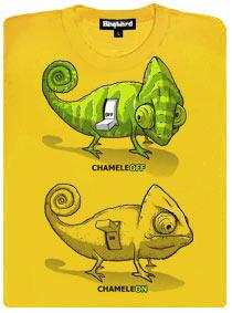 Žluté dámské tričko s potiskem ChameleON chameleOFF