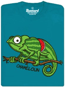 Chameleon jako meloun - modré pánské tričko