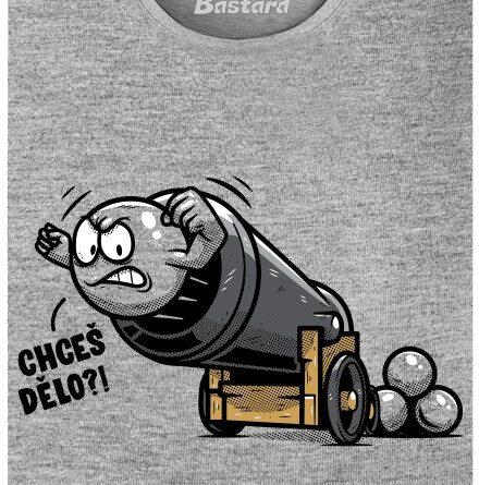 Dělová koule vystřelená z děla - šedé dámské tričko