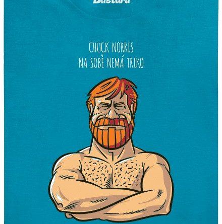 Chuck Norris na sobě nemá triko, triko má na sobě Chucka Norrise - modré pánské tričko
