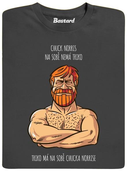Chuck Norris na tričku s potiskem - šedé pánské tričko