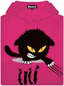 Fialová dámská mikina s potiskem Čičina naježená kočička