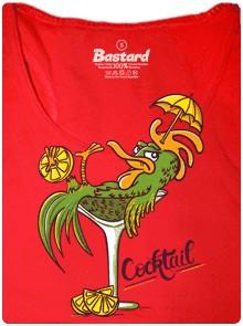 Cocktail = Kohoutí ocas - červené dámské tričko