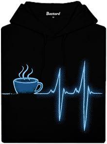 Černá pánská mikina s potiskem coffee help