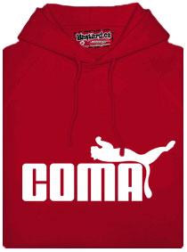Červená mikina s potiskem Coma