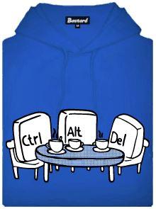Ctrl+Alt+Del - modrá pánská mikina s potiskem