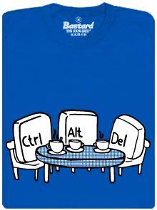 Ctrl+Alt+Del - modré pánské tričko s potiskem