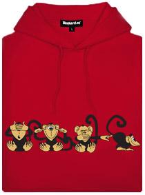 Červená pánská mikina s potiskem čtyř opic