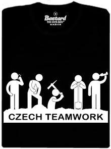 Česká týmová práce - černé pánské tričko s potiskem