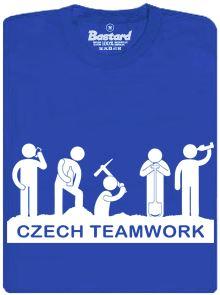 Czech teamwork - modré pánské tričko s potiskem