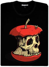 Okousané jablko ve tvaru lebky