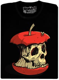Ohryzek červeného jablka ve tvaru lebky