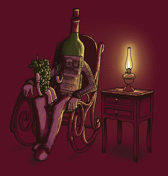 Děda archivní láhev vína vypráví svůj příběh svému malému hroznu