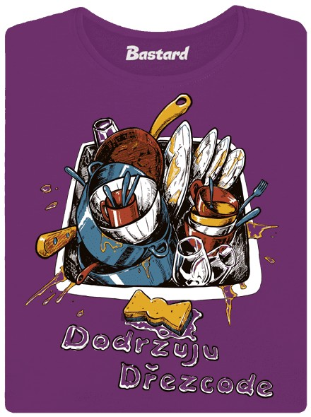 Neumyté nádobí ve dřezu - fialové dámské tričko