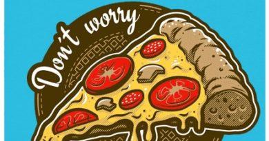 Don\'t worry, eat pizza - modré dámské tričko