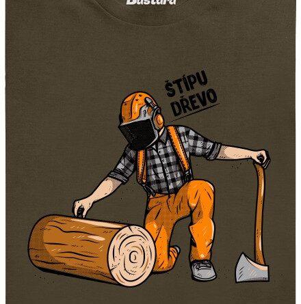 Dřevorubec štípe dřevo - hnědé pánské tričko