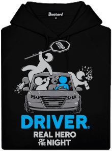 Černá pánská mikina s potiskem Driver - real hero of the night
