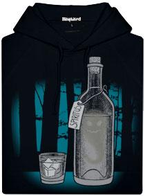 Černá pánská mikina s potiskem Duch v lahvi